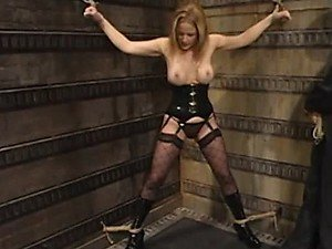 Rope and Dildo Fucking For a Blonde with Gag Ball