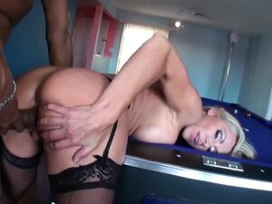 Mature interracial on pool table