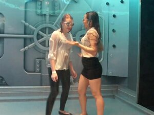 Awesome girls dance seductively while wetting in