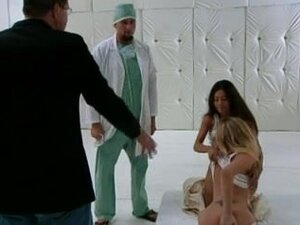 Foursome with three hot girls at the hospital,