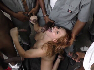 Redheaded slut blow banged by black cocks