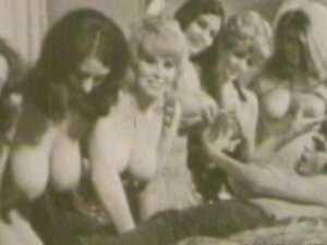 Vintage group sex in room with delicious busty