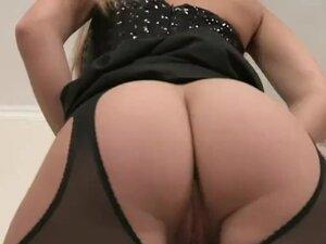Lingerie loving euro spreading her tight ass
