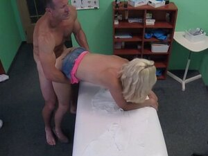 Horny blonde patient rides her doctor