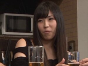 A sexy Japanese housewife has coffee then gets