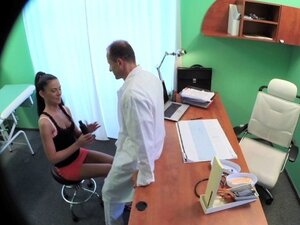 Sexy sales lady makes doctor cum twice as they