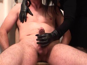 in leather gloves,