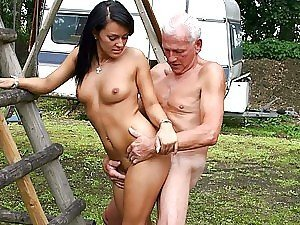 Beautiful Brunette Teen Gets Banged By an Old Man