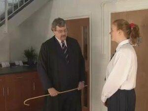 Caning of Justine, schoolgirl spanking