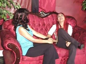 Pink haired lesbian going down on her friend -