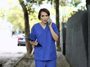 Horny nurse chokes on her stepbros dick