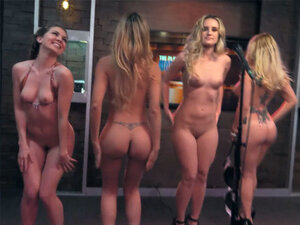 Babes get nude during a question game on a morning