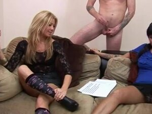 CFNM blowing and tugging their studs on their
