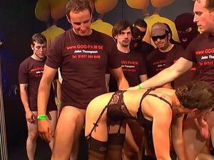 Group of guys bang a brunette bitch dressed in
