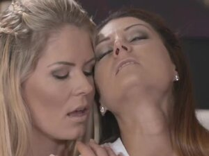 Two shaved pussy lesbians fucking in bed, Blonde