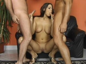 Alluring babe was double penetrated in insane mmf