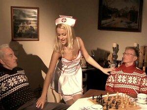 Old men double penetrates young pervert nurse