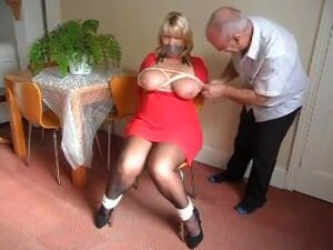 Chair bound, Bound to chair breasts tied and cream