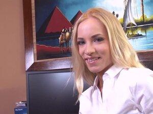 Hot blonde secretary Kiara Lord talks dirty while