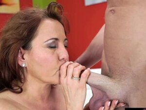 Sexy granny Red Mary go down hard and deep throat