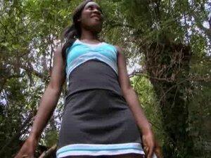Ebony moaning while smashed hardcore in the forest