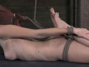 Hogtied and hair bondage sub wax play