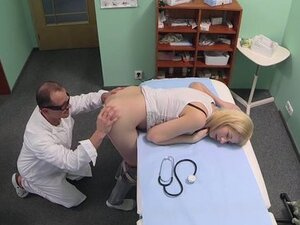Doctor licks and fucks natural blonde amateur