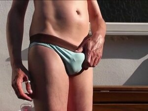 Bulging Blue Speedos and Oily Outdoor SunBATE