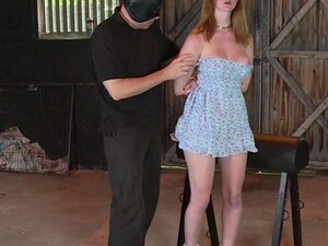 Gagged busty slave pussy fingered by master