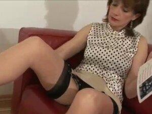 Brit mistress sucks and strokes cock
