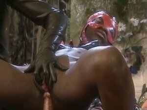 Black girl in leather hood gets anal