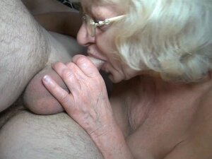 Blonde granny with natural tits has 69 sex