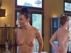 Erotic naked yoga session with two big boobed
