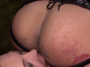 Strapon worshipping sub must lick mistress pussy
