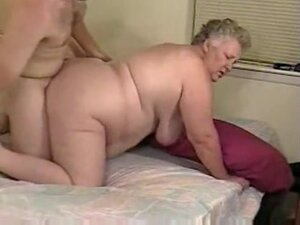 Chubby grey haired granny fucks in bed, chubby