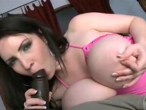 Busty babe fucked by black cock toy, Black-haired