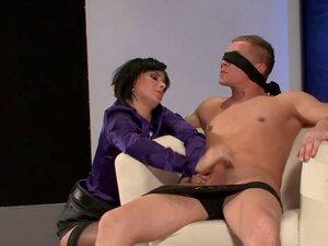 Blindfolded man fucks satin girl with black