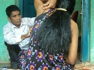 Girl's Armpits hair shaved by barber