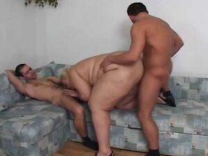 Blonde SSBBW drilled by 2 cocks