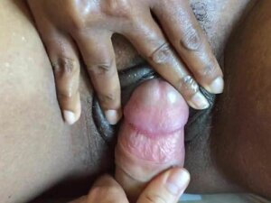 Rubbing your cock on my ebony wet clit to orgasm