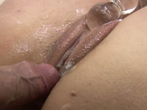 Petite chick Dionne gives blowjob and gets cumshot