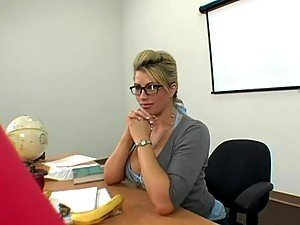 Sex in the classroom with busty blonde whore