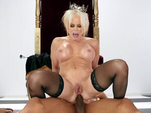 Busty Nikki Delano rides the black cock with her