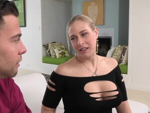 Busty milf orgasms in trio while riding penis,