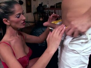 Leggy glamour babe Tommy fucking in red fishnet