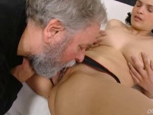 Diana moans as this grey haired dudes licks her