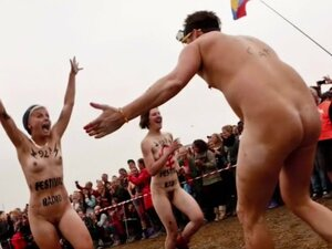 Popular festival with naked mature men and women,