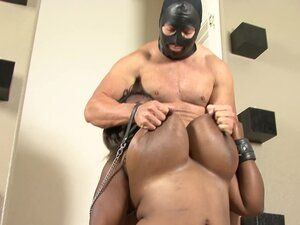 Bound BBW Choco Slapped And Tit Fucked Interracial