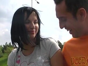 Brunette Hair shows mambos and sucks on the