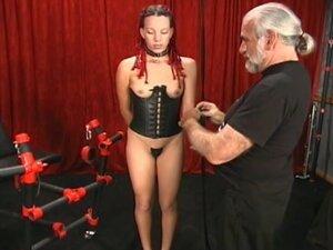 Leather corset slut in mixed BDSM video